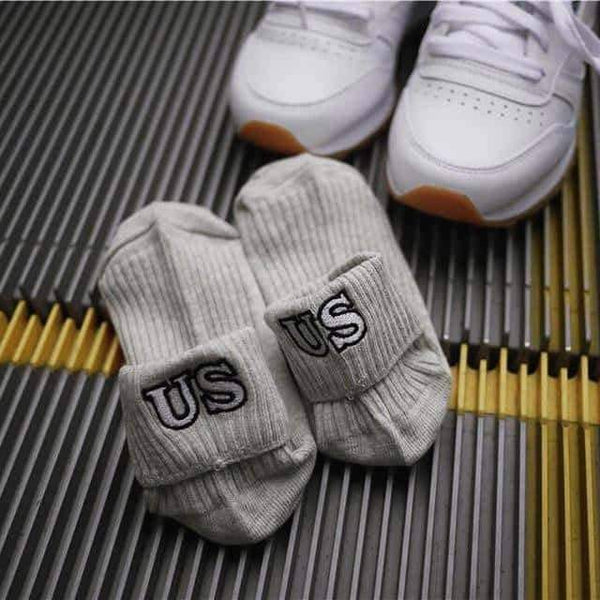 leggycozy socks [leggycozy] Embroidery Zipper Letter Striped Combed Cotton Socks