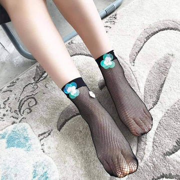 [leggycozy] Fashion Art Black Silk Flower Sequin Mesh Fishnet Socks