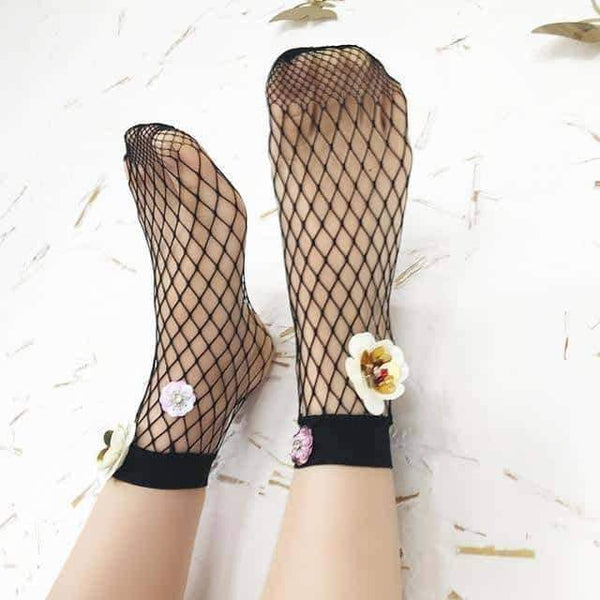 leggycozy socks [leggycozy] Fashion Art Black Silk Flower Sequin Mesh Fishnet Socks