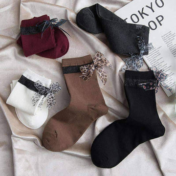[leggycozy] Fashion Leopard Lace Bow Knot Cotton Socks