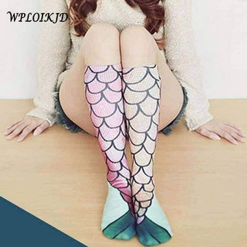 [leggycozy] Funny Swimming Mermaid Knee Socks For Summer Beach