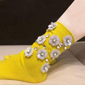 [leggycozy] Handmade Beads Pearl Rhinestone Flowers Cotton Socks