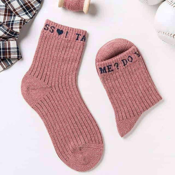 "leggycozy socks [leggycozy] Harajuku ""Do You Love Me"" Letter Cotton Crew Socks"
