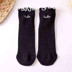 Open image in slideshow, [leggycozy] Harajuku Edge Embroidery Letters Cotton Ruffle Socks