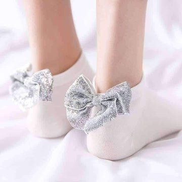 [leggycozy] Harajuku Gold Silver Shiny Bow Knot Colorful Ankle Socks