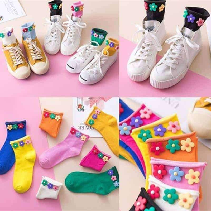 [leggycozy] Harajuku Sweet Beauty Candy Color Flower Ruffle Socks