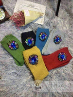 leggycozy socks [leggycozy] High-End Handmade Sapphire Beaded Tassels Solid Combed Cotton Socks