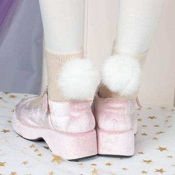 [leggycozy] High Quality Cute Warm Plush Rabbit Hair Ball Candy Color Socks