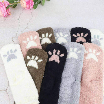 [leggycozy] High Quality Embroidery Cute Cat Bear Eared Coral Fleece Socks
