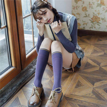 [leggycozy] High Quality Harajuku Knee High Cotton Socks
