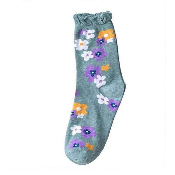 leggycozy socks [leggycozy] High Quality Kawaii Colorful Flower Pattern Breathable Socks
