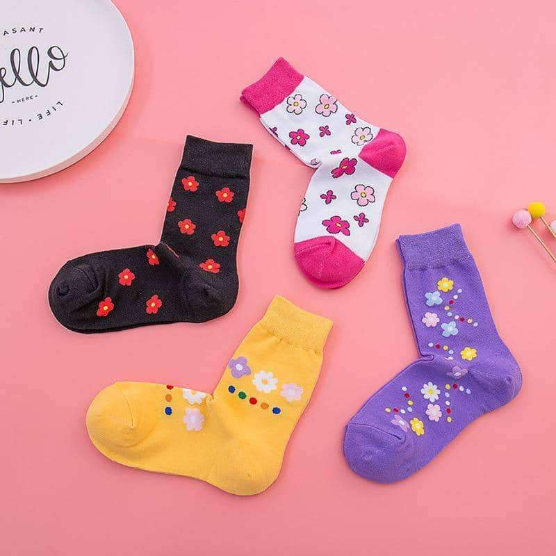 leggycozy socks [leggycozy] High Quality Korean Cute Floral Pattern Socks