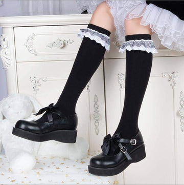 [leggycozy] High Quality Preppy Style Plaid Lace Trim Cotton Knee High Socks