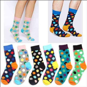 [leggycozy] High Quality Unisex Colorful Dots Pattern Cotton Happy Socks
