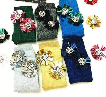 [leggycozy] Japanese Embroidered Sequin Sun Flower Sheen Socks