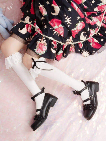 [leggycozy] Japanese Embroidery Big Lace Cotton Tube Stockings