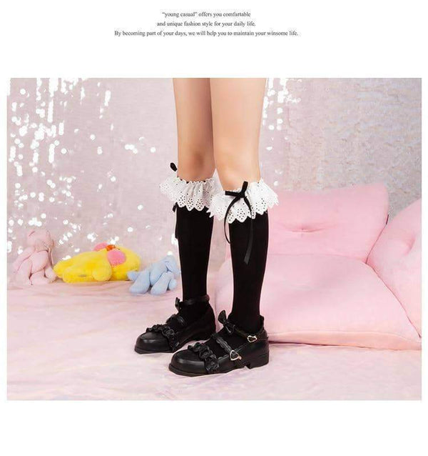 leggycozy socks [leggycozy] Japanese Embroidery Big Lace Cotton Tube Stockings