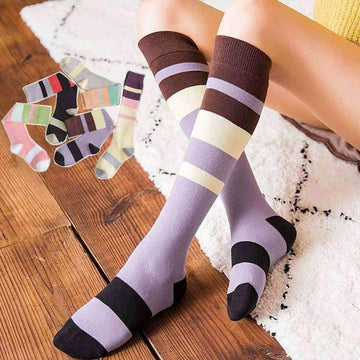 [leggycozy] Japanese Fashion Simple Striped Knee Socks