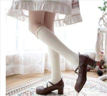 [leggycozy] Japanese JK Style Ruffle Lace Knee High Socks