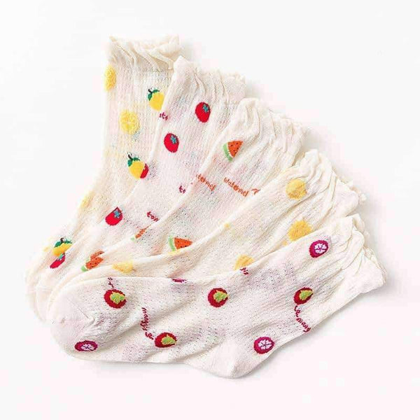 leggycozy socks [leggycozy] Japanese Kawaii Fruit Print Glass Silk Mesh Socks
