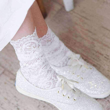 [leggycozy] Japanese Mesh Floral Lace Patterned Art Socks