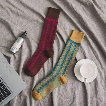 [leggycozy] Japanese Retro Rhombic Pattern Thick Cotton Crew Socks