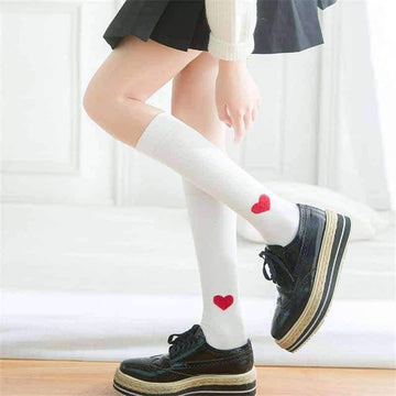 [leggycozy] Japanese School Fashion Cute Heart Shaped Cotton Knee Socks