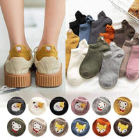leggycozy socks [leggycozy] Japanese Solid Color 3D Cartoon Heel Embroidery Socks