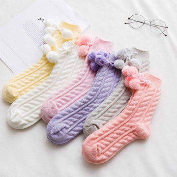 [leggycozy] Japanese Style Cute Boll Winter Wool Warm Socks