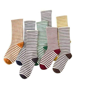 Open image in slideshow, [leggycozy] Japanese Style Striped Cute Cotton Socks