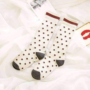 Open image in slideshow, [leggycozy] Japanese Sweet Style Kawaii Dot Patterned Mid-Calf Socks