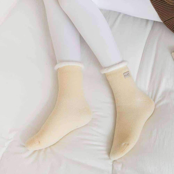 leggycozy socks [leggycozy] Japanese Winter Ruffled Thick Brushed Letters Embroidery Socks