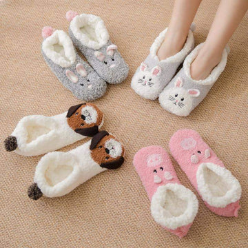 [leggycozy] Kawaii Cute Animal Cartoon Thickening Coral Fleece Slipper Floor Socks