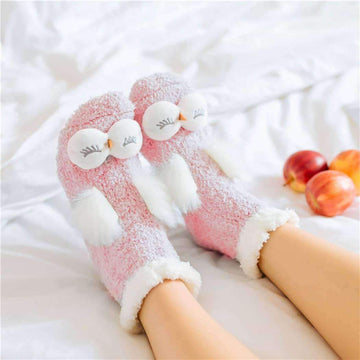 [leggycozy] Kawaii Cute Animal Winter Velvet Fluffy Sleeping Warm Socks -Rabbit Owl