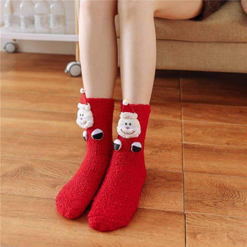 [leggycozy] Kawaii Cute Christmas Cartoon Coral Fleece Fluffy Warm Socks