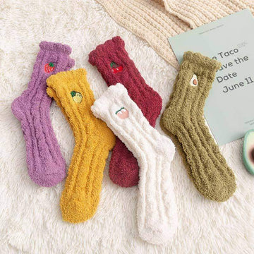 [leggycozy] Kawaii Embroidery Fruit Coral Fleece Warm Socks