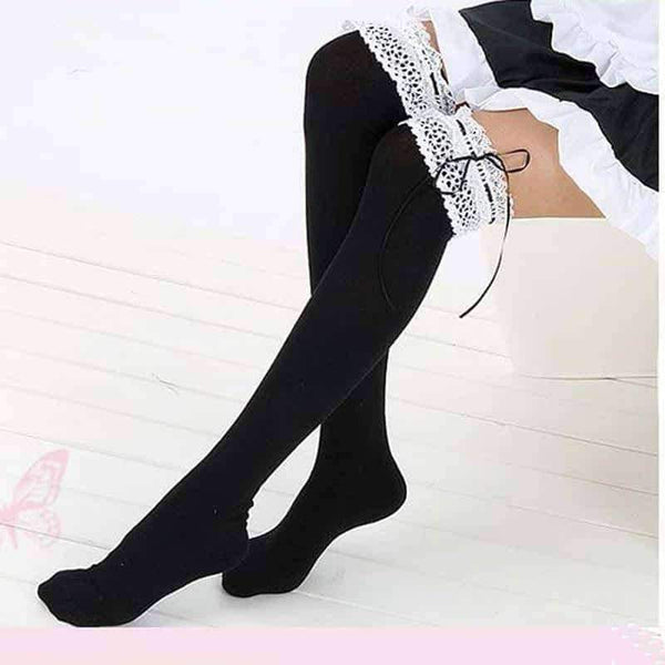 leggycozy socks [leggycozy] Kawaii Lace Bow-Knot Over Knee Socks