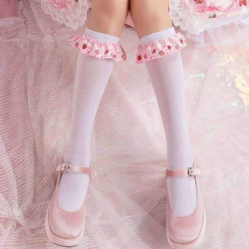 [leggycozy] Kawaii Strawberry Bow Knot Trim Cotton Knee-High Socks