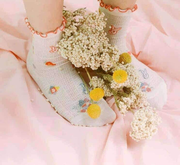 leggycozy socks [leggycozy] Kawaii Summer Mesh Ruffle Sweet Socks