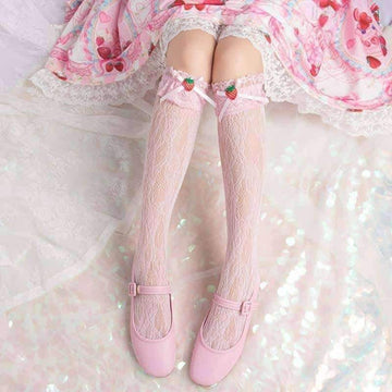 [leggycozy] Kawaii Sweet Cute Strawberry Lace Bow Knot Knee High Socks Black White