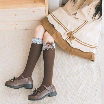[leggycozy] Kawaii Sweet Preppy Soft Lace Mid Bow Knot Knee Socks