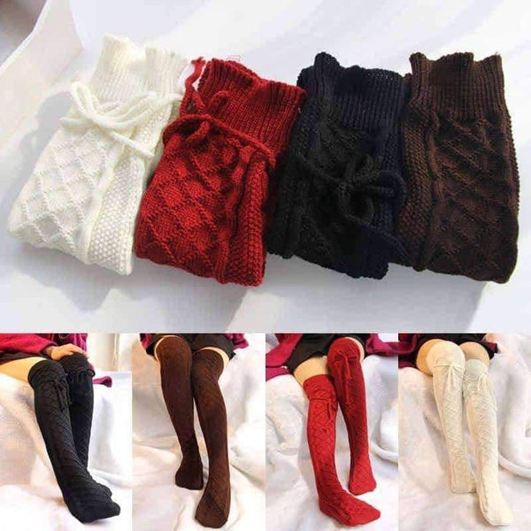 leggycozy socks [leggycozy] Knitted Cable Long Boot Thigh-High Knee Socks