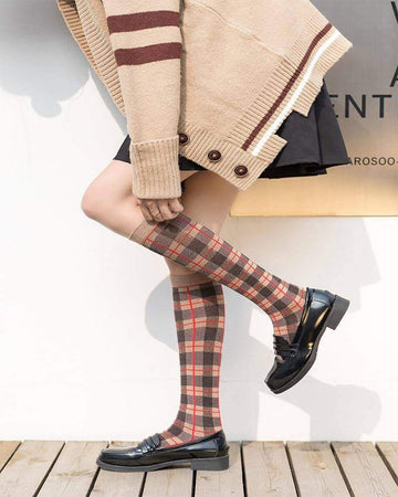 [leggycozy] Korean Fashionable Lattice Pattern Linen Knee Socks