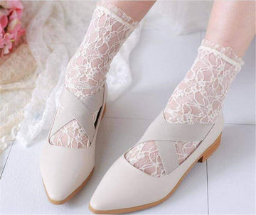 [leggycozy] Korean Retro Sweet Floral Lace Socks