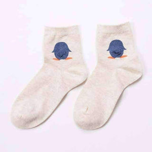 Open image in slideshow, [leggycozy] Korean Student Cute Animal Tailed Cotton Socks -Penguin Polar Bear Rabbit Duck