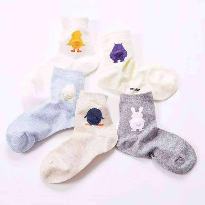 [leggycozy] Korean Student Cute Animal Tailed Cotton Socks -Penguin Polar Bear Rabbit Duck