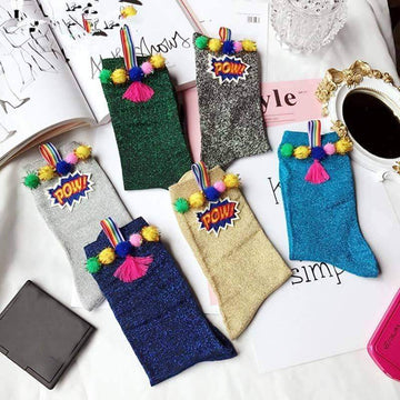 [leggycozy] Korean Style Color Round Ball Glitter Gold Silver Silk POW Metal Embroidery Socks