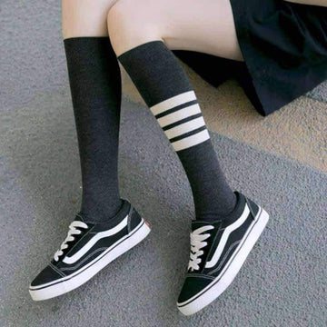 [leggycozy] Korean Style Colorful Striped Casual Knee Socks