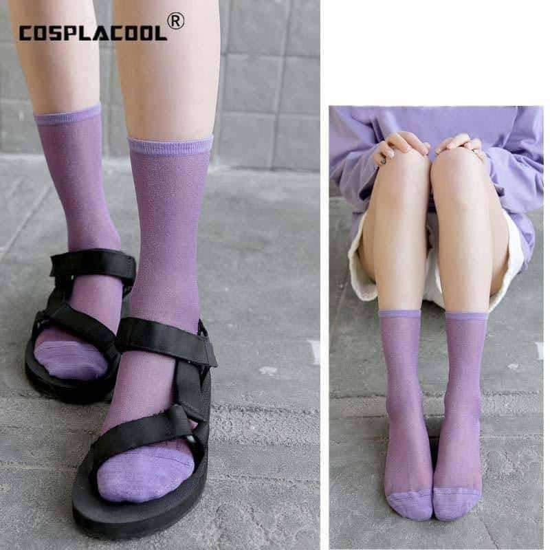 [leggycozy] Korean Style Colorful Thin Transparent Fashion Hip Socks