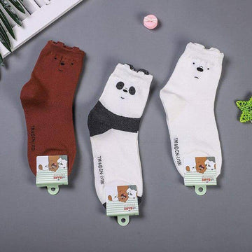 [leggycozy] Korean Style Cute Cartoon Bear Panda Animal Print Cotton Socks